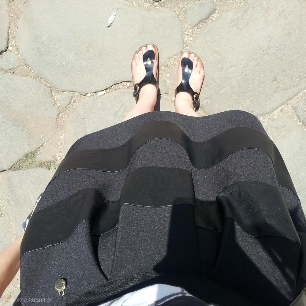 rome, fromwhereistand, birkenstock, essie blanc, striped, skirt