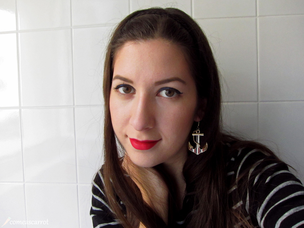amu, makeup, sailor, look, blue, eyeliner, red lips, loreal, p2, anker