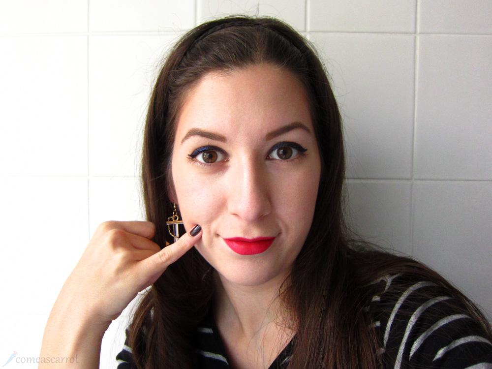amu, makeup, sailor, look, blue, eyeliner, red lips, loreal, p2, anker