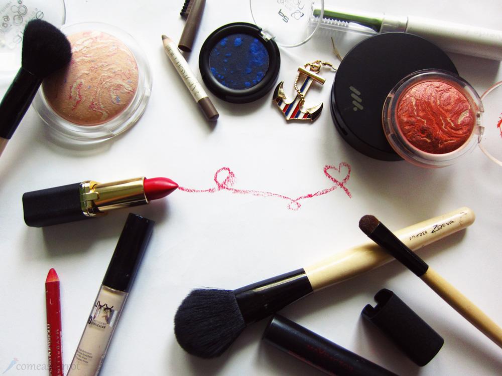 amu, makeup, sailor, look, blue, eyeliner, red lips, loreal, p2, anker, zoeva,