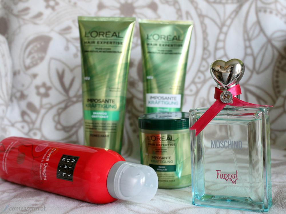 win, gewinnspiel, adventskalender, moschino, funny, parfum, duft, loreal, shampoo, conditioner, hair mask, rituals, duschschaum