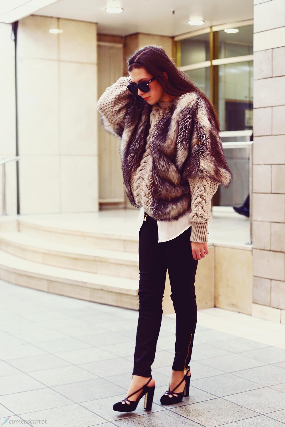 fake fur, kunstpelz, pelz, goldbergh, le specs, bally, high heels, skinny, sonnenbrille, brünett