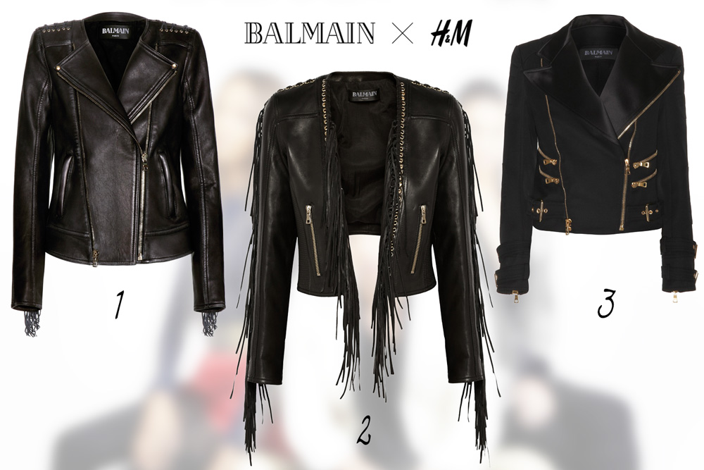 fashion news, H&M, balmain, designer collaboration, 2015, leather jacket, fringe, biker