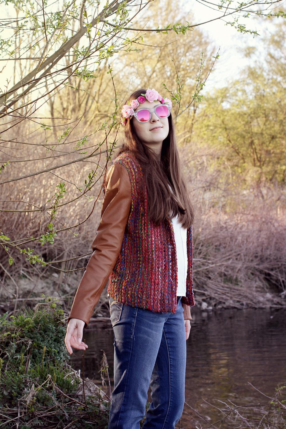 outfit, goosecraft, leather jacket, hippie, blumenkranz, le specs, festival look