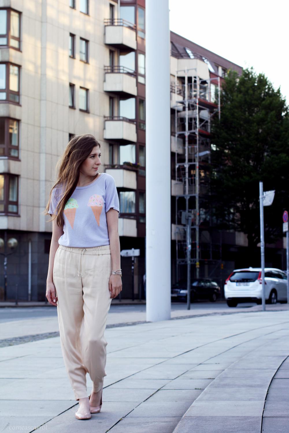 outfit, joop, harem, silk, pants, wildfox, shirt, pretty, soft, pastel, trend, wie trägt man pastell