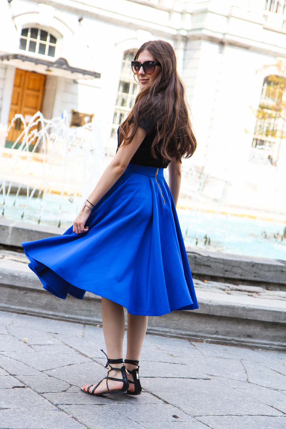 outfit, blue, midi, skirt, lace up, sandals, montreal, how to style, wie trägt man midi röcke, harbour