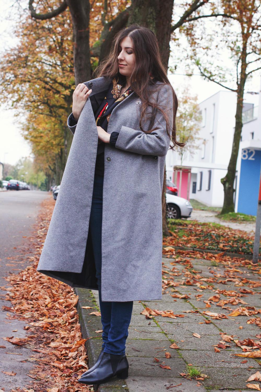 outfit, asos, grey, midi, coat, langer, mantel, mavi, jeans, buffalo, beauts, herbst basics, wie trägt man, kleine, acne, look alikes
