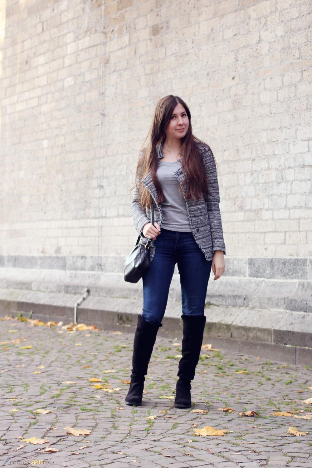 outfit, zara, blazer, jacke, cardigan, zign, overknees, schwarz, mavi jeans, studentenlook, köln