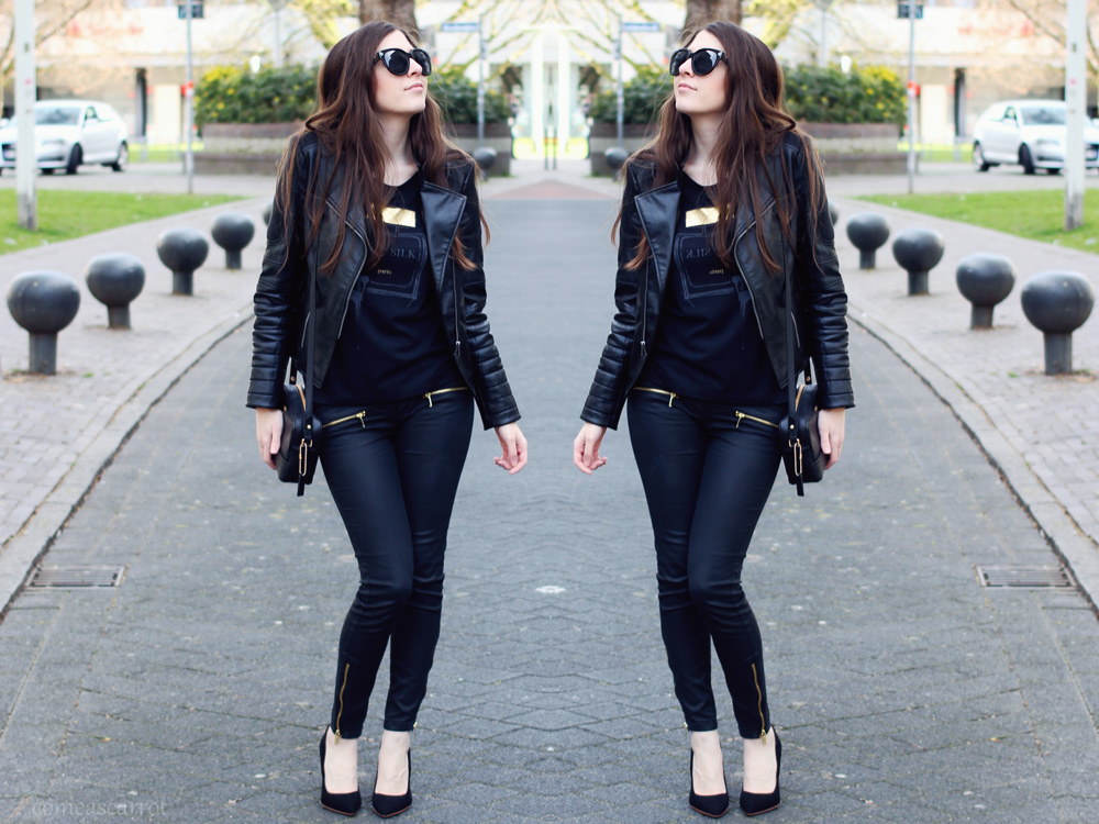 fashion blog, outfit, rockchicerella, rock, glas shoe, h&m, leather jacket