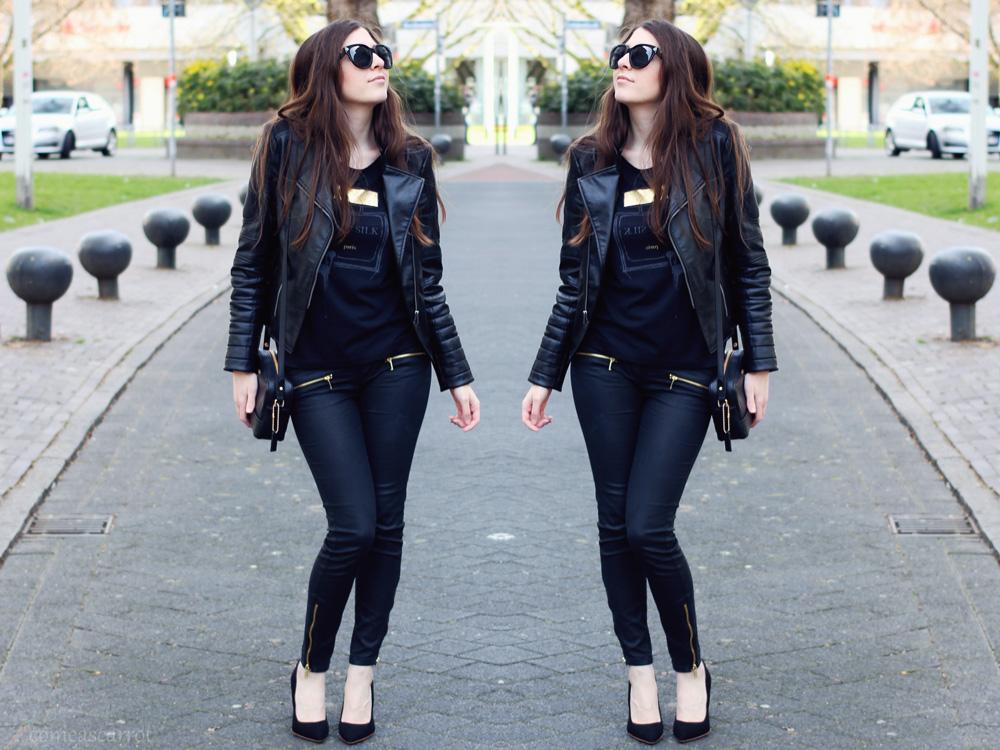 fashion blog, outfit, rockchicerella, rock, glas shoe, h&m, leather jacket