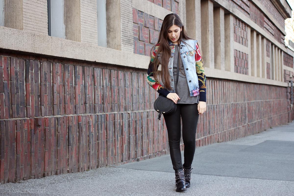 outfit, denim jacket, biker boots, desigual, jeansjacke, mango, stiefeletten, nieten, chloe mini marcie, #chloegirls, fashionblogger, fashionblog, blogger, modeblogger, essen, streetstyle, spring, ruhrgebiet